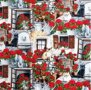 Picture of Cats and Geraniums Cat Varieties Lounging on the Porch Cotton Fabric