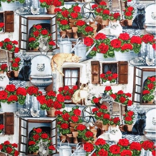 Cats and Geraniums Cat Varieties Lounging on the Porch Cotton Fabric