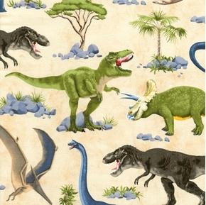 Picture of Dinosaur Scenic T-Rex Stegosaurus Pterodactyl Dinosaurs Cotton Fabric