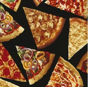 Pizza Slices with Toppings Peppers Mushrooms Pepperoni Cotton Fabric