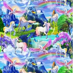Magical Garden Unicorns Rainbows Pegasus Unicorn Cotton Fabric