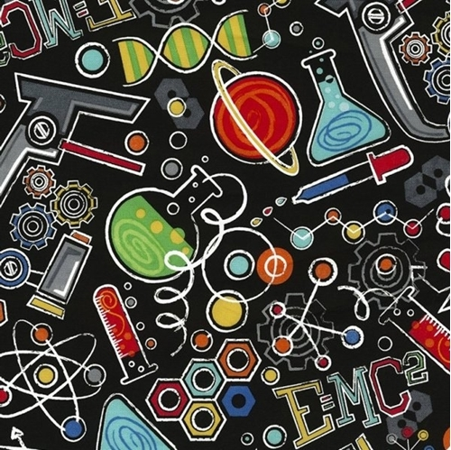 Picture of Science Allover Lab Equipment E=MC2 DNA Microscope Cotton Fabric