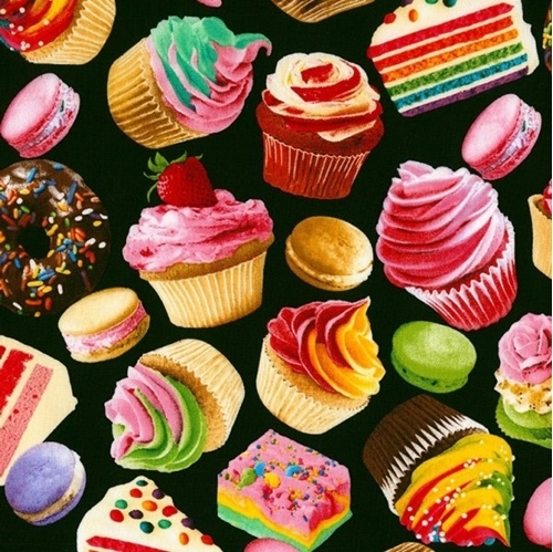 Picture of Desserts Baked Goods Cupcakes Macaroons Cake Donuts Cotton Fabric
