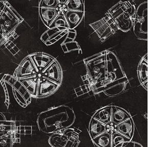 Picture of Lights Camera Action Camera and Reels Movie Film Black Cotton Fabric