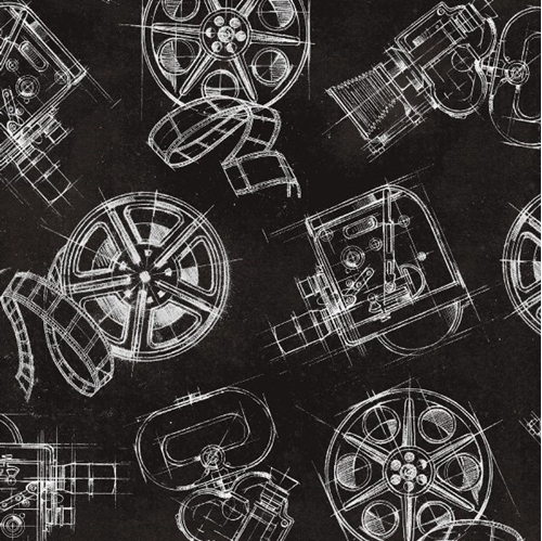 Lights Camera Action Camera and Reels Movie Film Black Cotton Fabric