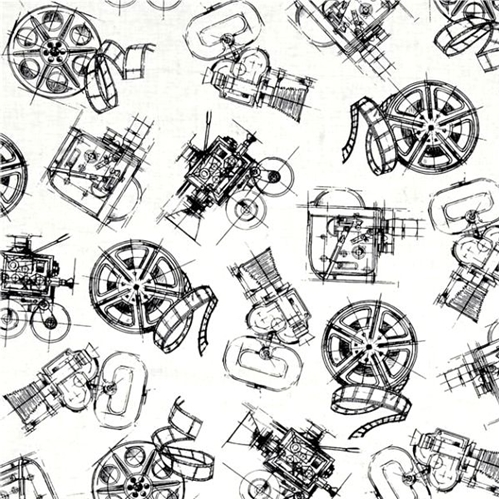 Picture of Lights Camera Action Camera and Reels Movie Film White Cotton Fabric