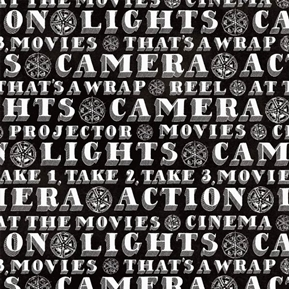 Picture of Lights Camera Action Words Projector Movie Production Cotton Fabric