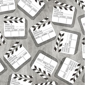 Lights Camera Action Clap Board Take 1 Movie Film Cinema Cotton Fabric