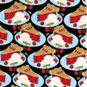 Sweet Treat Arnolds Diner Cherry Pie Alamode Ice Cream Cotton Fabric