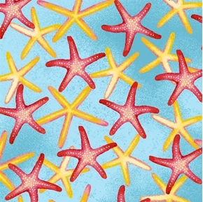 Picture of Coral Reef Starfish Pink and Yellow Starfish on Aqua Cotton Fabric