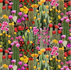 Picture of Cactus Flowering Dessert Cactus Southwest Cotton Fabric