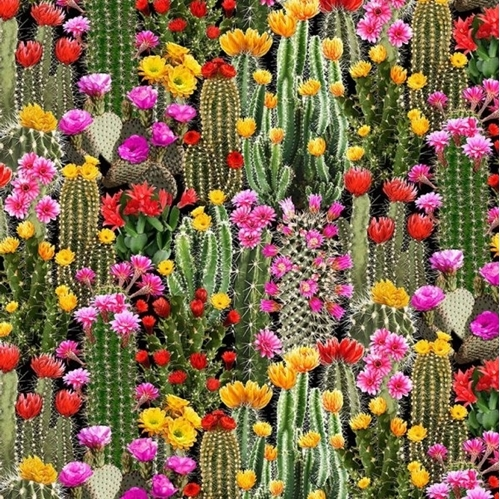 Cactus Flowering Dessert Cactus Southwest Cotton Fabric