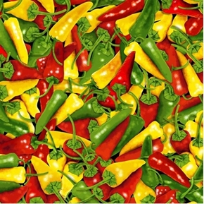 Chili Peppers Red Green and Yellow Hot Pepper Chilies Cotton Fabric