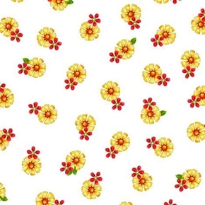 Picture of Who Let The Hogs Out Tossed Flowers Yellow on White Cotton Fabric