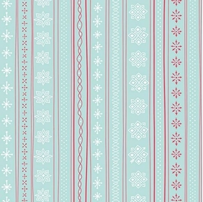 Picture of Mingle and Jingle Snowflake Stripe Light Wintergreen Cotton Fabric