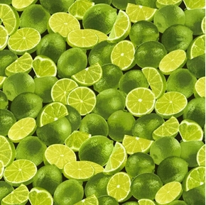 Limes Green Limes and Lime Halves Cotton Fabric