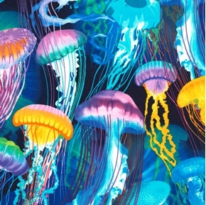Jellyfish Colorful Underwater Jellyfish in the Ocean Cotton Fabric