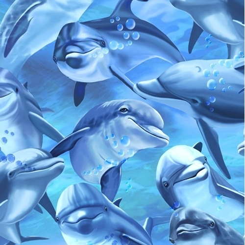 Picture of Dolphins Swimming in the Ocean Dolphin Cotton Fabric