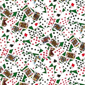 Tossed Cards Poker Canasta Rummy Playing Cards on Green Cotton Fabric