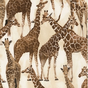 Giraffe Brown Giraffes on Tan African Animal Cotton Fabric