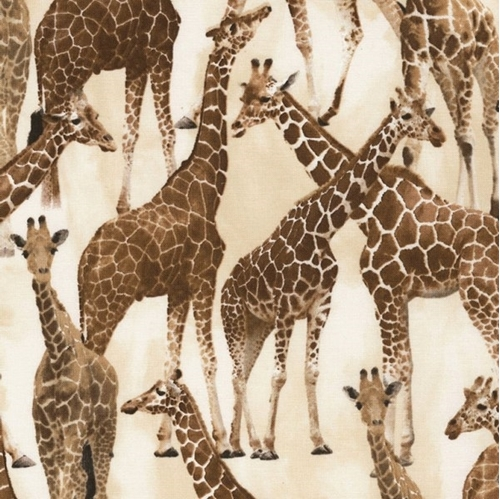 Picture of Giraffe Brown Giraffes on Tan African Animal Cotton Fabric