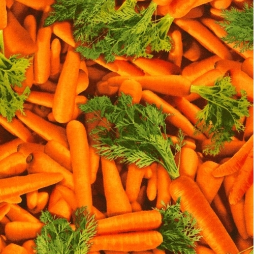 Picture of Carrots with Greens Orange Whole Carrot Cotton Fabric