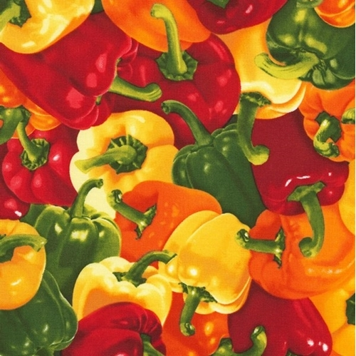 Peppers Red Green and Yellow Bell Pepper Cotton Fabric
