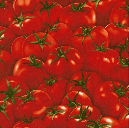 Red Tomatoes Delicious Whole Red Tomato Cotton Fabric