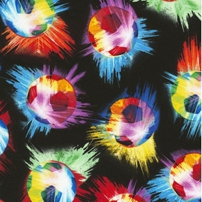 Picture of Soccer Balls Smashing Soccer Ball Colors on Black Cotton Fabric