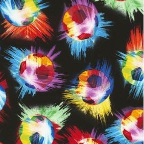 Soccer Balls Smashing Soccer Ball Colors on Black Cotton Fabric