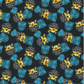 Picture of Transformers Bumblebee Head Toss Black Cotton Fabric