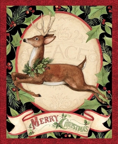 Woodland Deer Christmas Holiday Susan Winget Large Cotton Fabric Panel