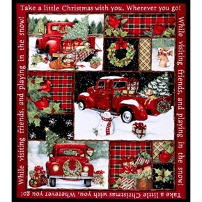 red truck collage christmas susan winget large cotton fabric panel