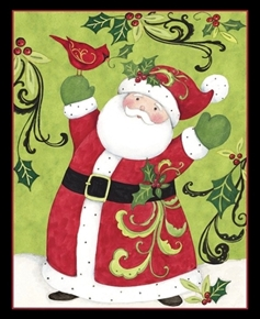 Picture of Swirl Santa Christmas Cardinal Susan Winget Large Cotton Fabric Panel