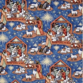 Picture of Nativity Scene Peace on Earth Manger Susan Winget Cotton Fabric