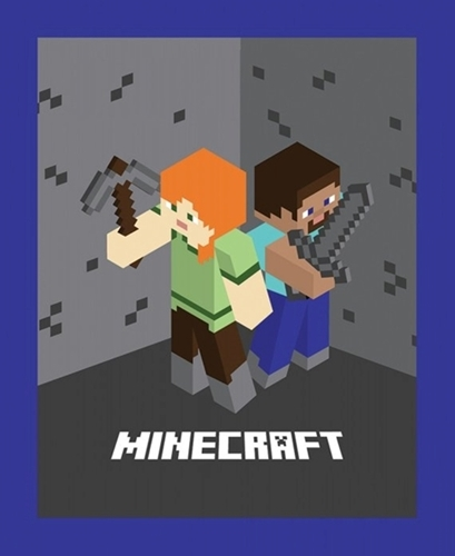Minecraft Mojang Alex and Steve Video Game Large Cotton Fabric Panel