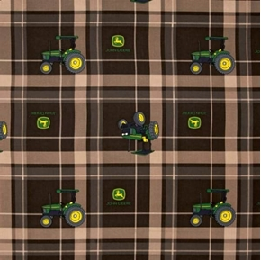 Picture of John Deere Brown Tractor Plaid Tractors Dark Brown Plaid Cotton Fabric
