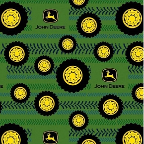 Flannel John Deere Tires on Tread Wheels Logo Green Cotton Fabric