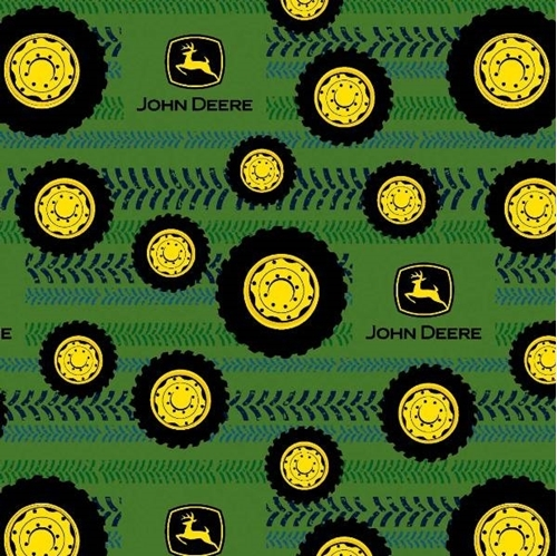 Flannel John Deere Tires on Tread Wheels Logo Green Cotton Fabric