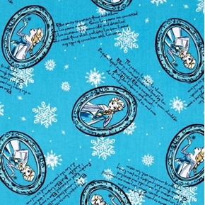 Picture of Disney Frozen Elsa Framed Story Lines Snowflakes Blue Cotton Fabric