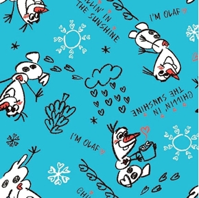 Picture of Disney Frozen Olaf Sketch Chillin in the Sunshine Blue Cotton Fabric