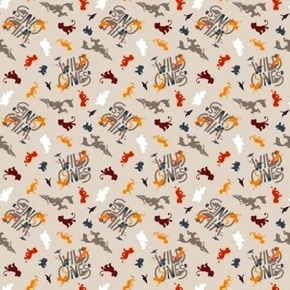 Disney Lion King Wild Ones Lion Guard Character Toss Tan Cotton Fabric