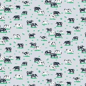 Tiny Cows in the Pasture Dairy Cow Grey Dear Stella Cotton Fabric