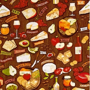Fruit and Cheese Nuts Wine Honey Cheese Plate Brown Cotton Fabric