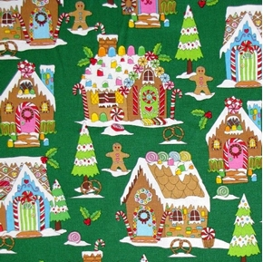 Picture of Winter Novelties III Gingerbread Houses Holiday Green Cotton Fabric