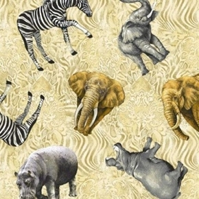 Picture of Jungle Party African Animal Tonal Hippo Elephant Zebra Cotton Fabric