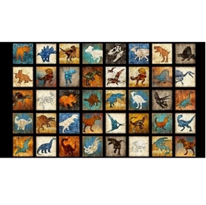 Lost World Small Dinosaur Patches 24x44 Cotton Fabric Panel