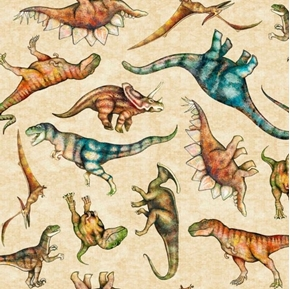 Lost World Tossed Dinos Dinosaur T-Rex Stegasaurus Tan Cotton Fabric