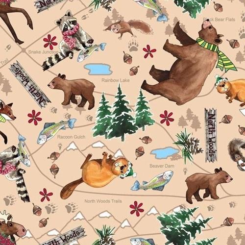North Woods Neighbors Friendly Animal Toss Light Brown Cotton Fabric