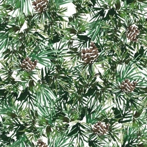 Picture of North Woods Neighbors Pinecones and Pine Boughs Cotton Fabric